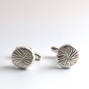 Silver Floral-textured Chunky Organic Nugget Cufflinks
