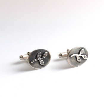 Silver Oval Shaped Cufflinks with Leaf Sprig Relief Design