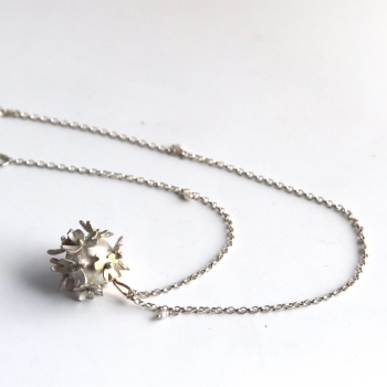 Silver Flower Bomb Necklace with Gold detail - Medium size