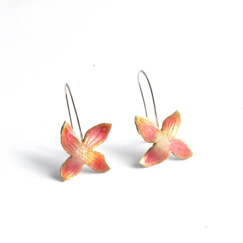 Pink Clematis Flower Hook Earrings
