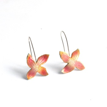 Pink Clematis Flower Hook Earrings