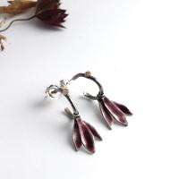 Hoop Earrings with Plum Enamelled Silver Petal Shaped Drops