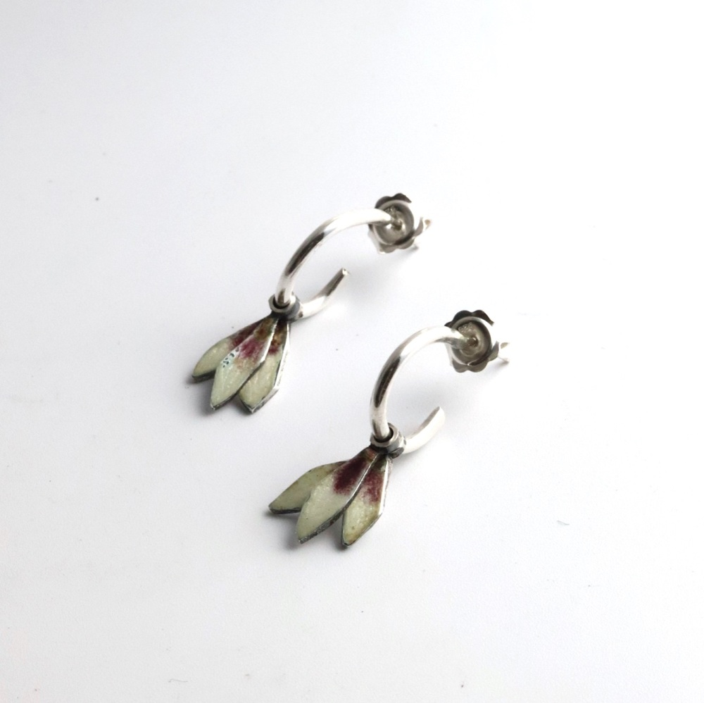 Small Hoop Earrings with Delicate  Petal-shaped Drops in Plum and white Ena