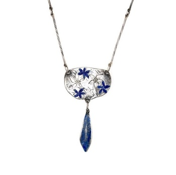 Silver Necklace with Cut Out and Blue Enamelled Flowers with Blue Enamel Petal-shaped Drop on Handmade Chain