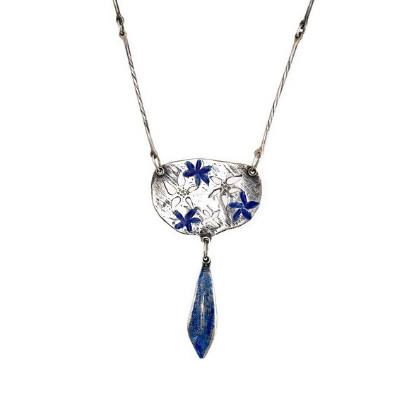 Silver Necklace with Cut Out and Blue Enamelled Flowers with Blue Enamel Pe