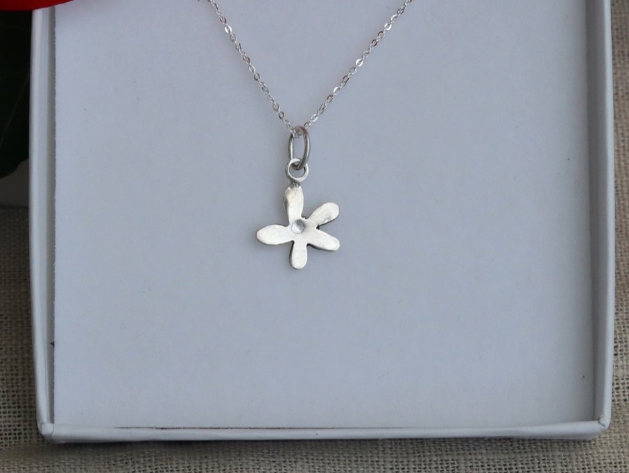 Tiny Silver Flower Necklace on a Fine Silver Chain