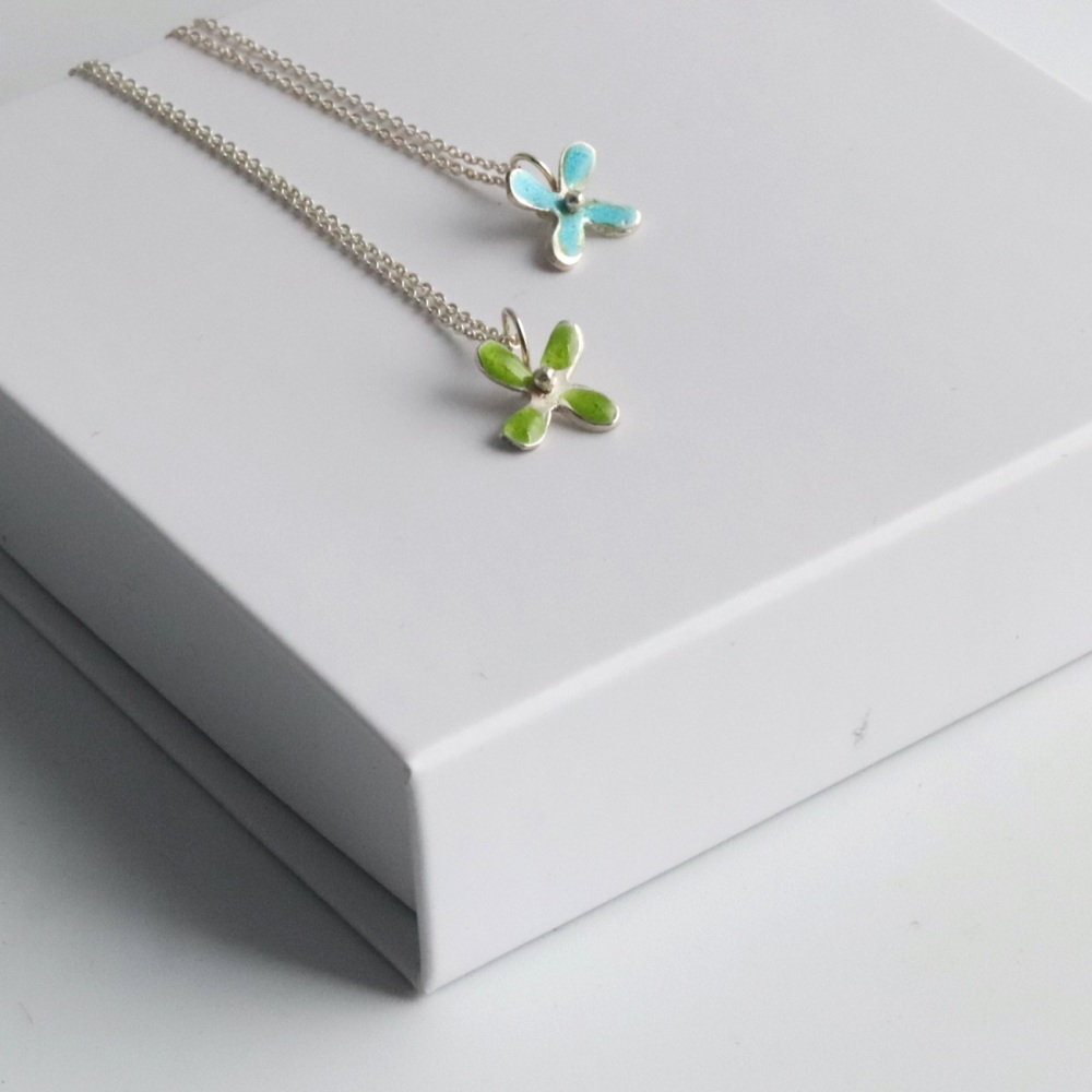 Tiny Blue or Green Flower Necklace
