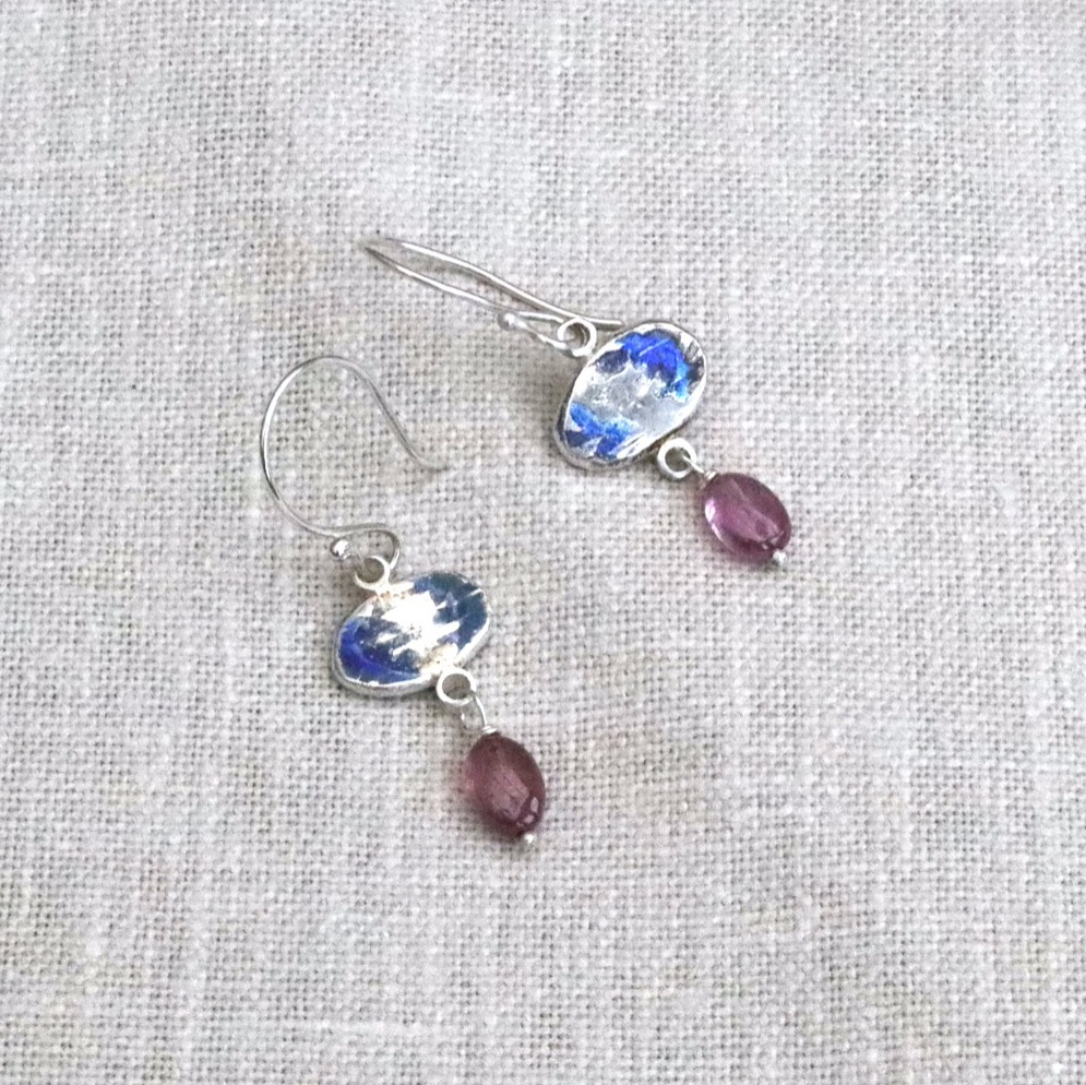 Blue Enamel Flower Hanging Earrings with Pink Ruby Drop