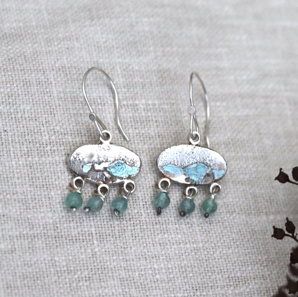 Dangly Enamelled Blue Nugget Earrings with Blue Apatite Drops