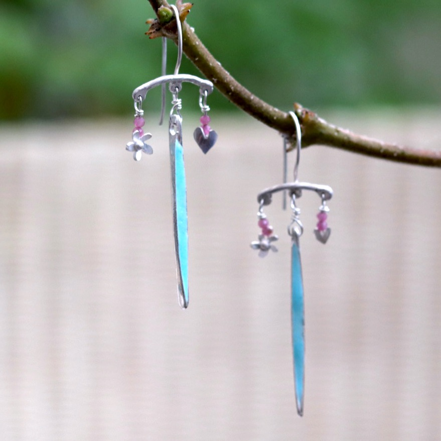 Silver Chandelier Earrings with Long Blue Enamel Drop