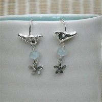 Bird Earrings with Gems and Flowers