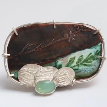 Rakaia Brooch -  Unique Aqua  Mountain Stream and Leaf Scene Brooch Made From Silver, Copper and Set with a Peruvian Opal
