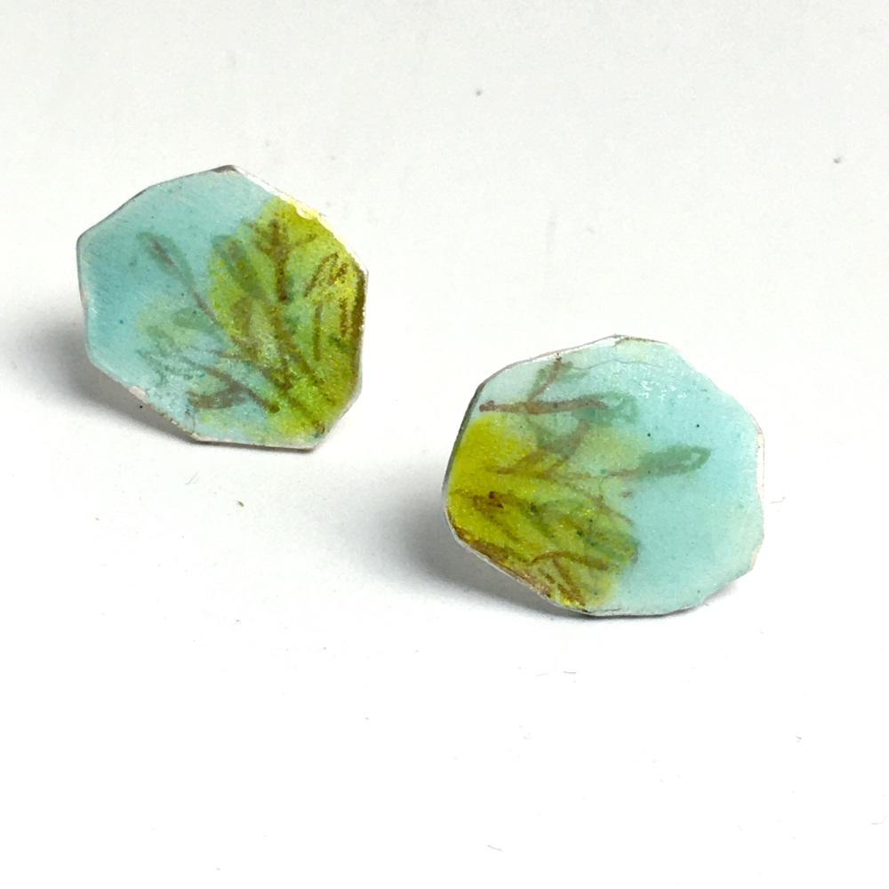Looking up Earrings - Stud Earrings with Blue and Green Enamel with Leaf an