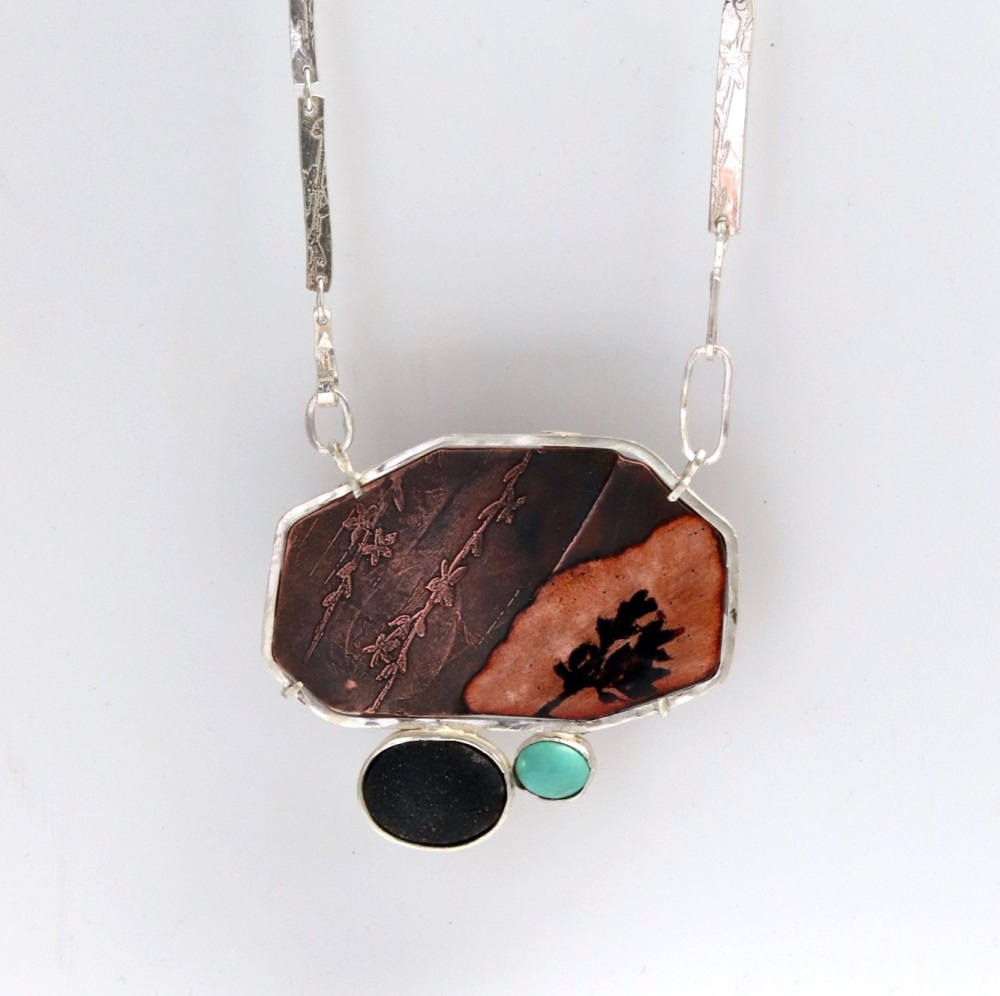 Big Statement Mixed Metal Enamelled Pendant with Druzy and Turquoise