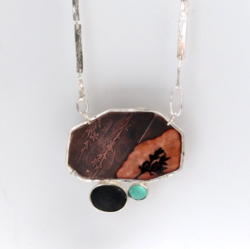 Big Statement Mixed Metal Enamelled Pendant set with Druzy and Turquoise Gems with Detachable Silver Chain