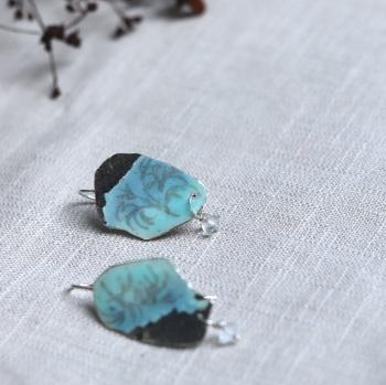 Winter Trees Blue Skies Enamelled Silver Earrings