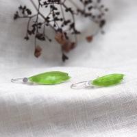 Green Enamelled Leafy Hook Silver Earrings