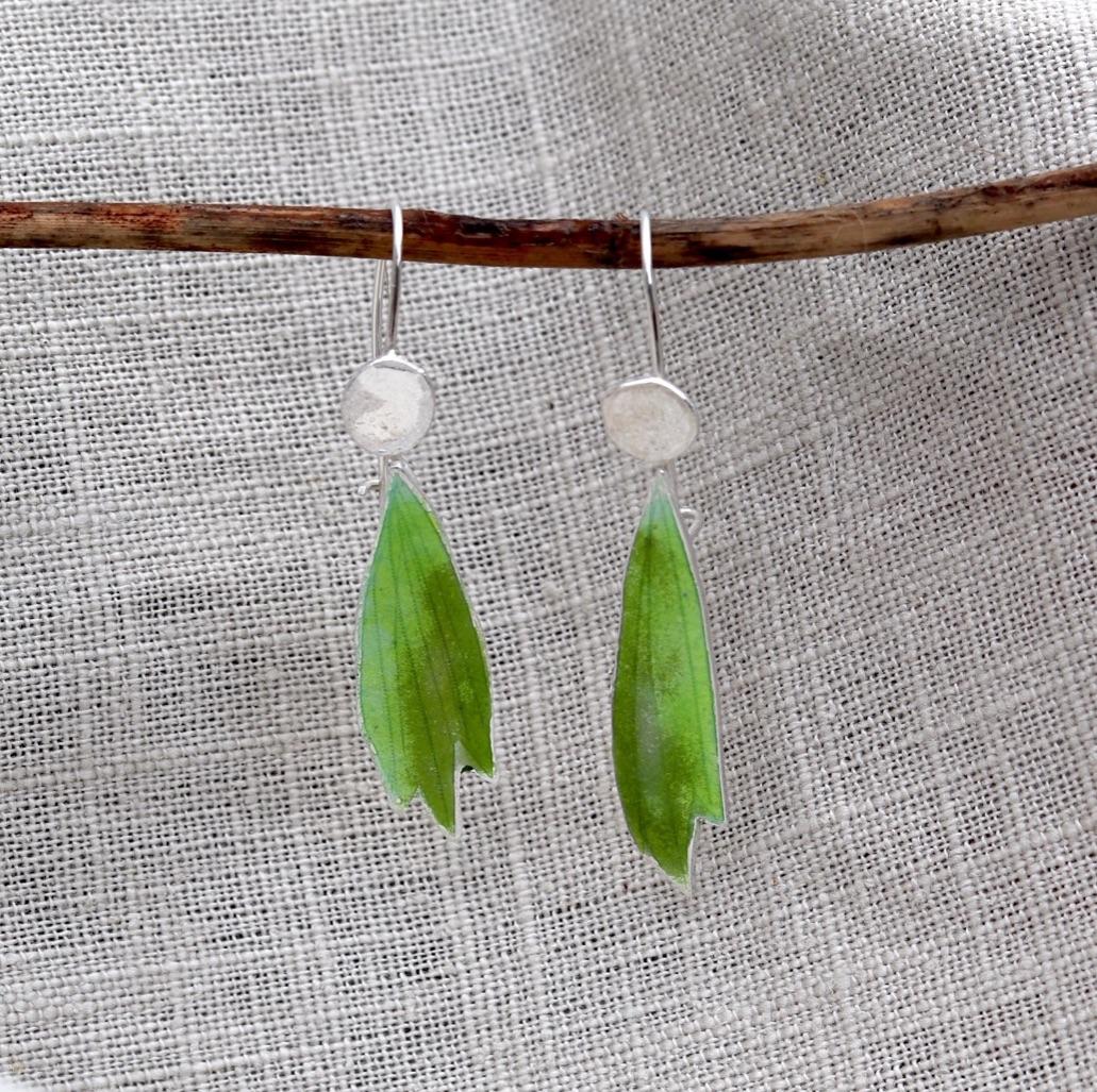 Green Enamelled Leafy Silver Earrings with Secure Hook Back