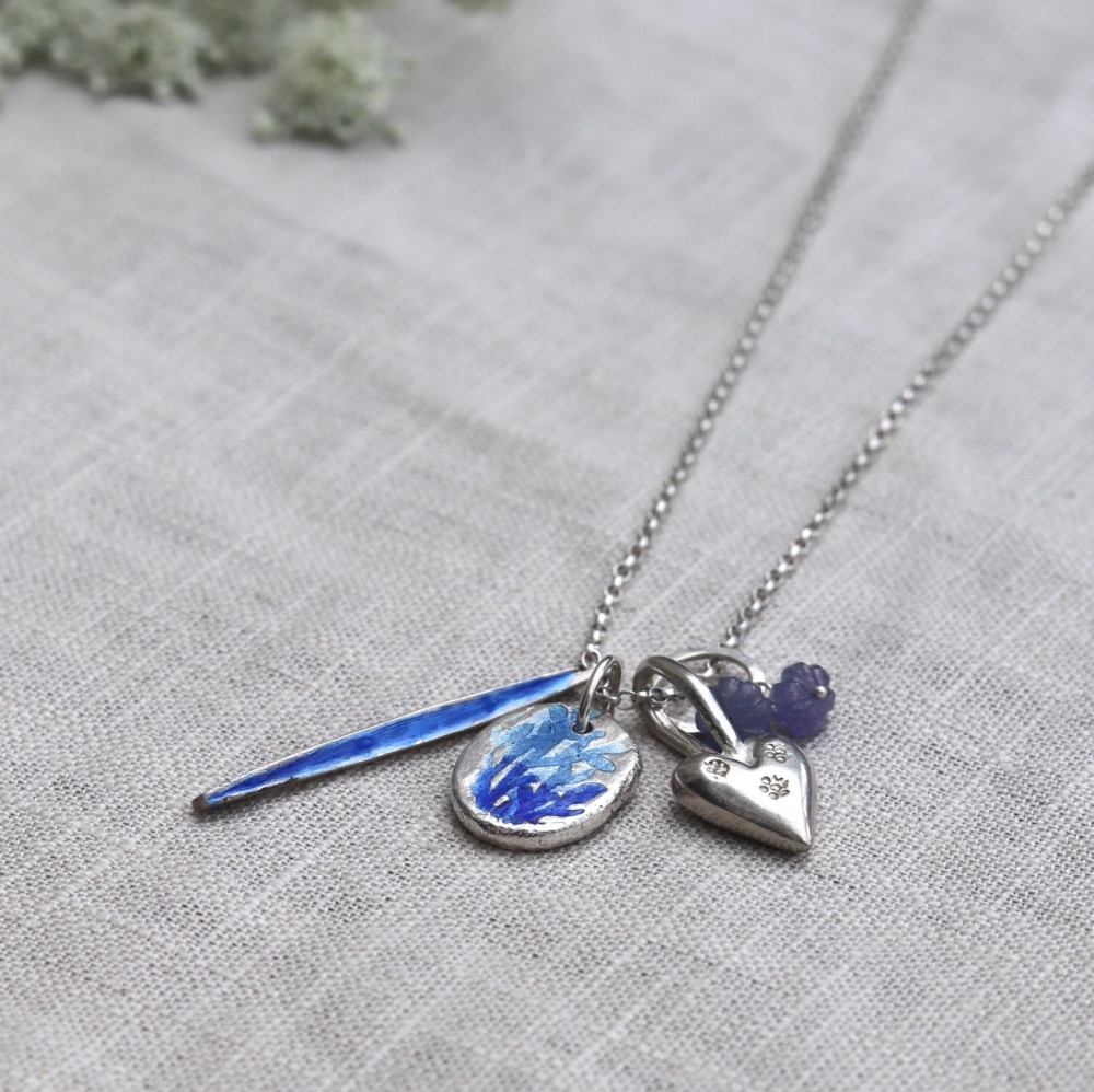 Long Silver Charms Necklace with Blue Enamelled Nugget, Silver Heart, Ename