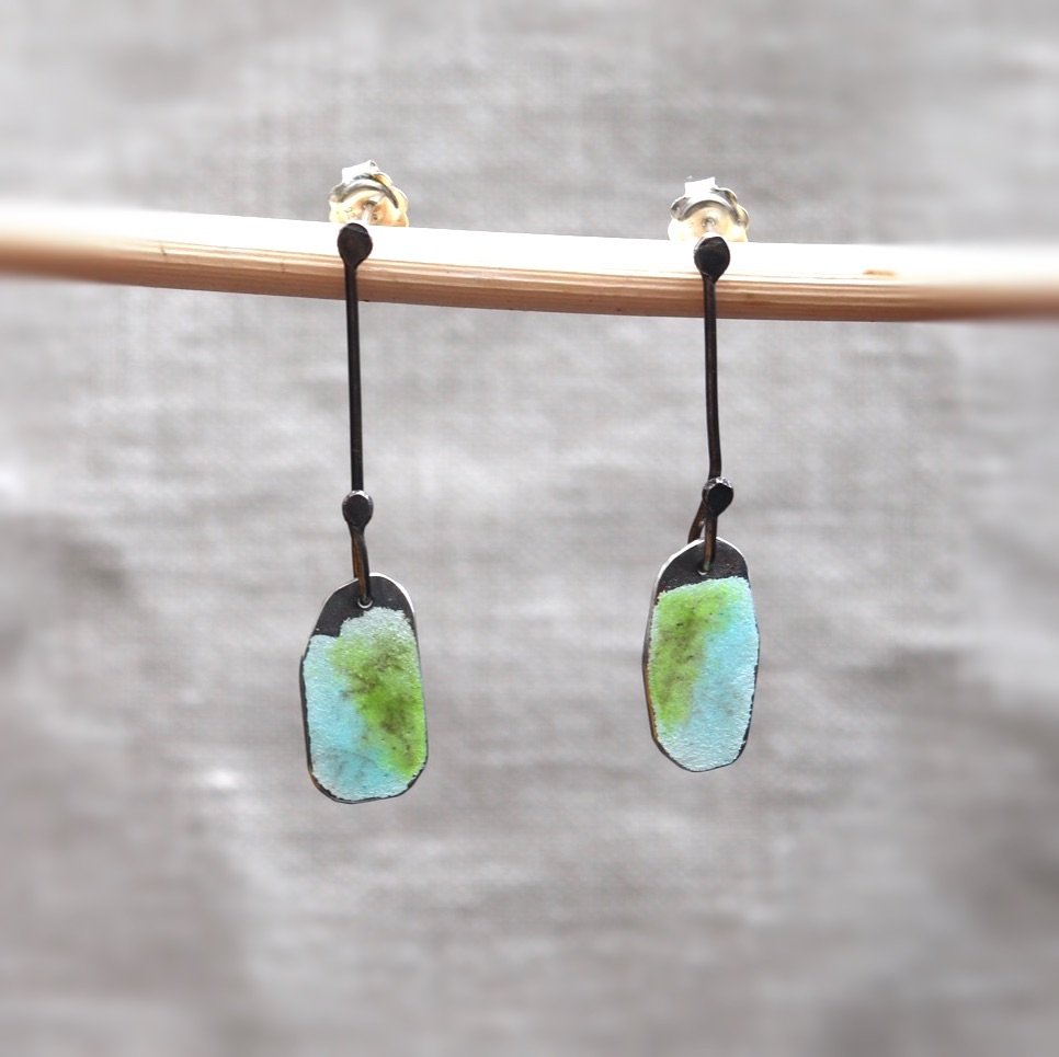 Long Drop Oxidised Silver Stud earrings with Green and Blue Enamel and Subt