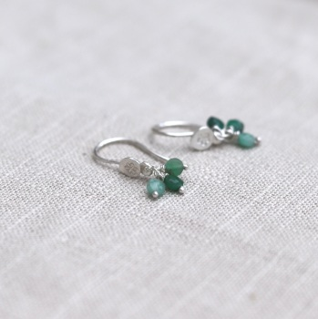 Silver Small Drop Earrings with Flower Design and Emerald Cluster Drops