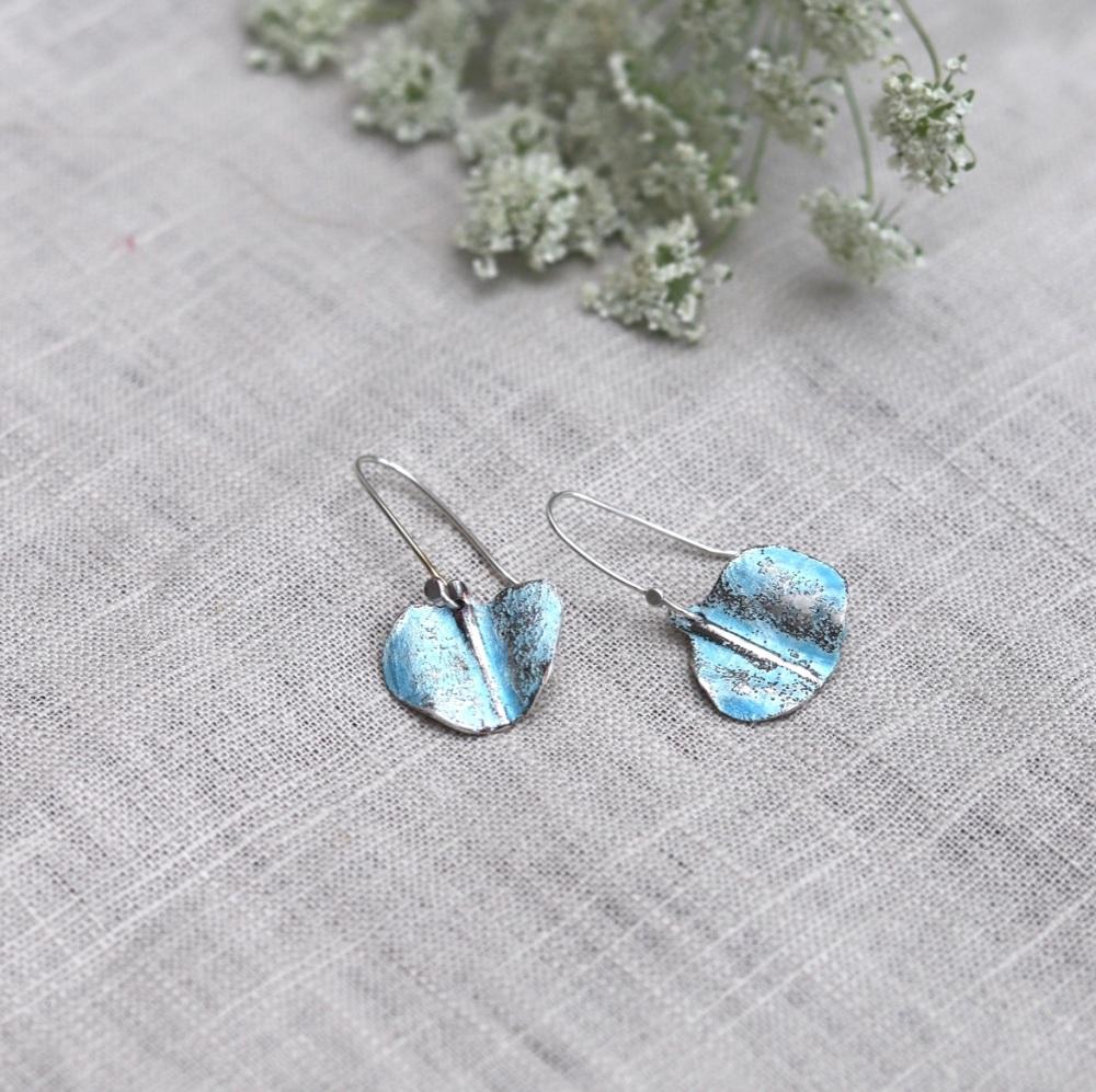 Textured Sky-blue Silver and Enamel Irregular Drop Earrings Inspired by Bir