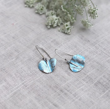 Textured Sky-blue Silver and Enamel Irregular Drop Earrings Inspired by Birch Seeds