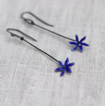 Long Star Flower Enamelled Earrings - Dark Cobalt Blue