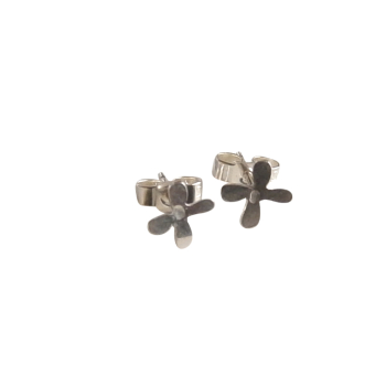 Tiny Silver Petal Studs