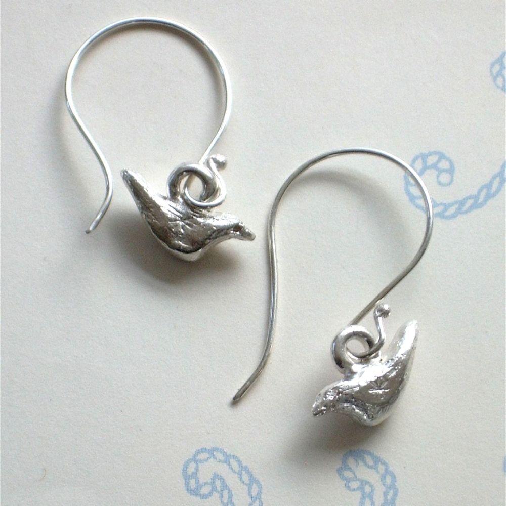 Bird Earrings on Hooks or Hooks