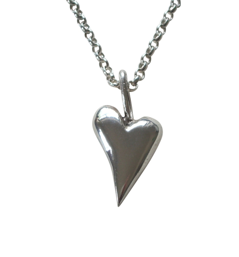 Solid Silver Medium Heart Necklace