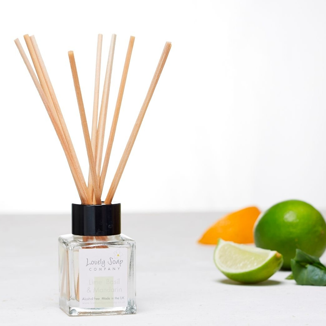 Lime Basil Mandarin reed diffuser by Lovely Soap Company