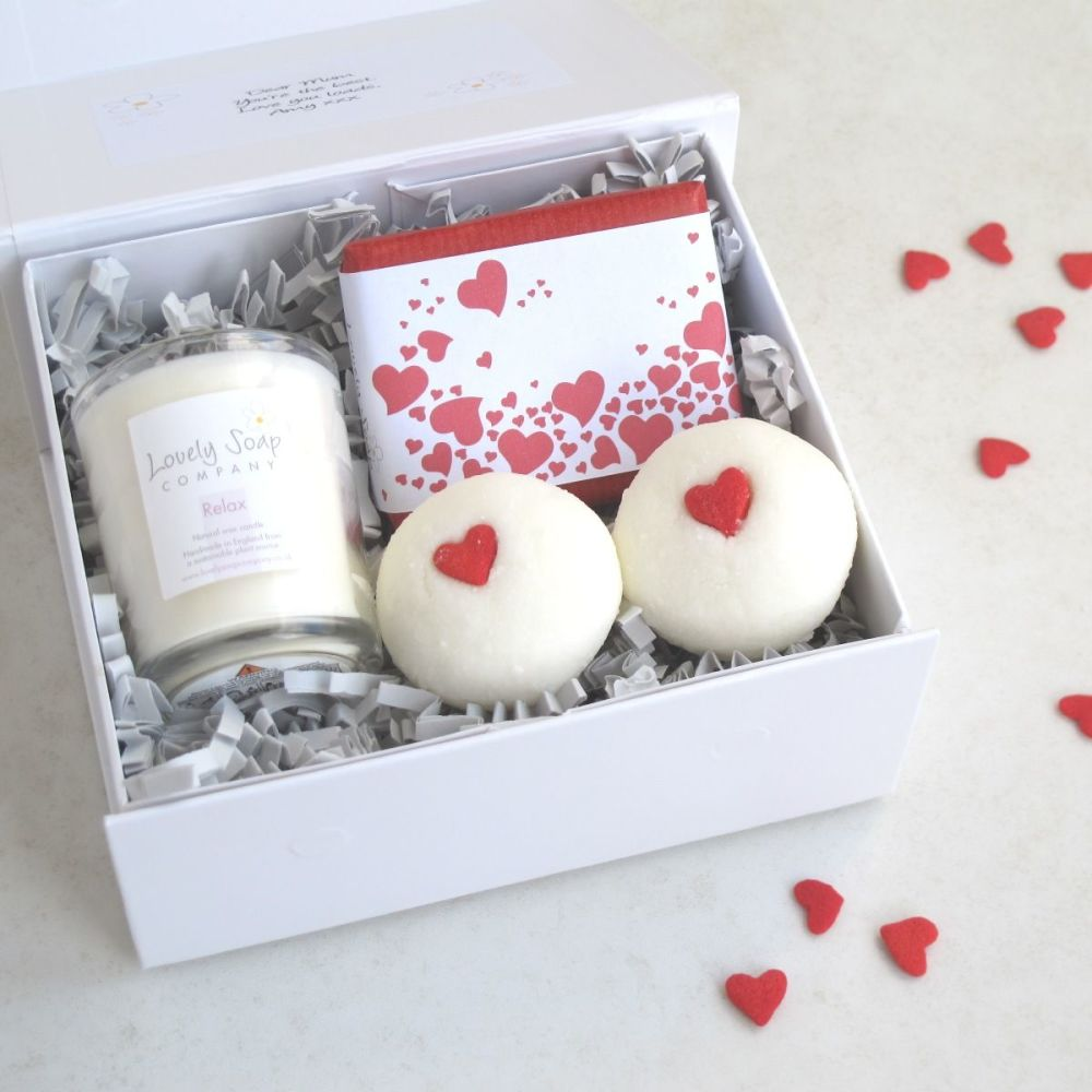 Valentine's Pamper Me Bath Gift by Lovely Soap Company Set