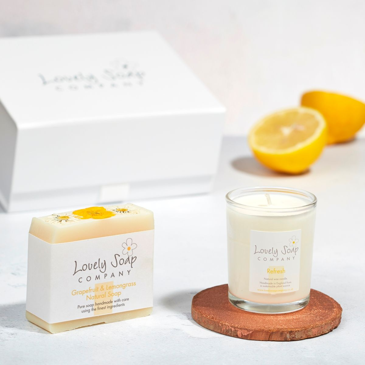 citrus thank you bath gift set by Lovely Soap Company