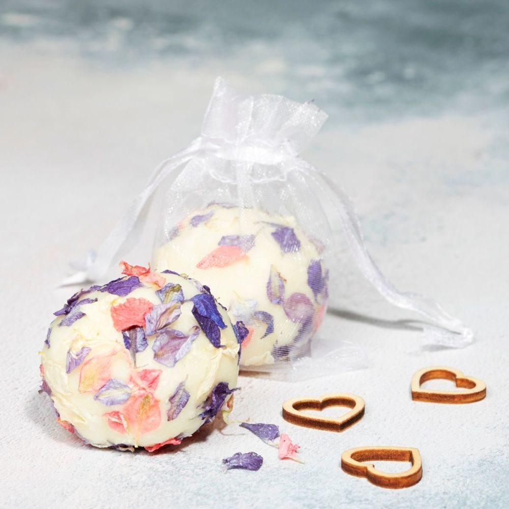 Bath Truffle Wedding Favour with blue and pink petals by Lovely Soap Compan