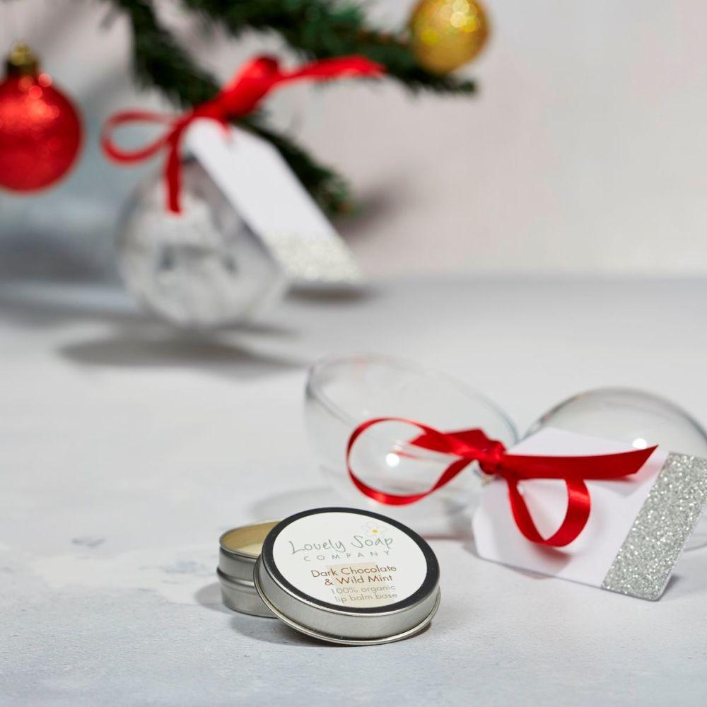 organic lip balm xmas bauble gift by Lovely Soap Company