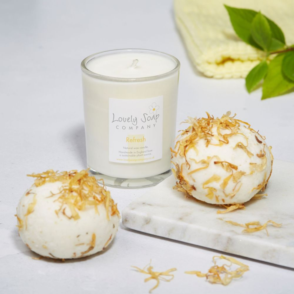 Bathtime Pamper Gift Set in refreshing citrus scent by Lovely Soap Company