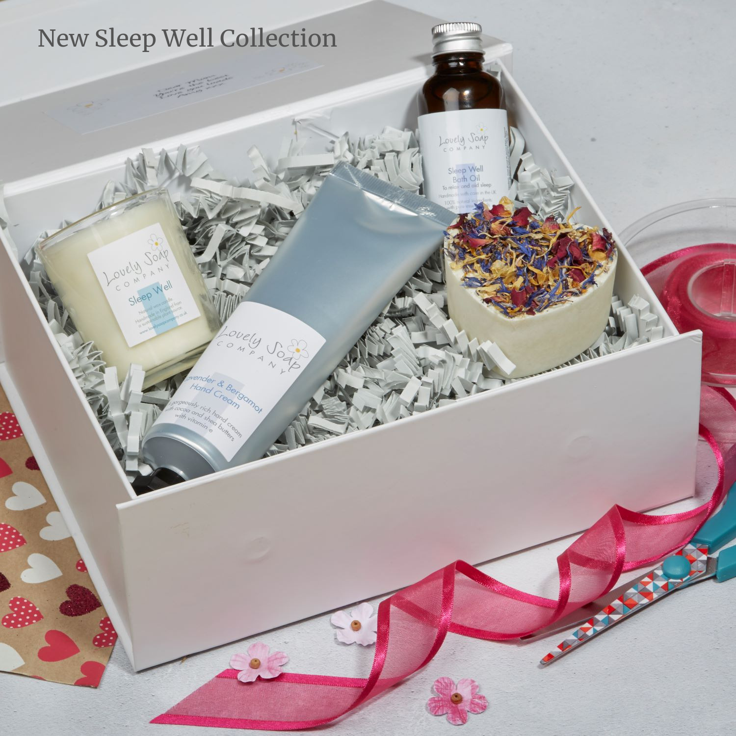 sleep well pamper gift set, Lovely Soap Company, natural handmade soaps