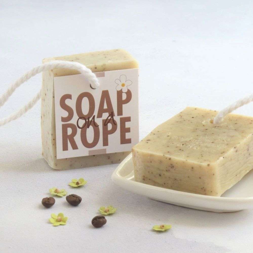 Coffee Scrub Soap on a Rope by Lovely Soap Company