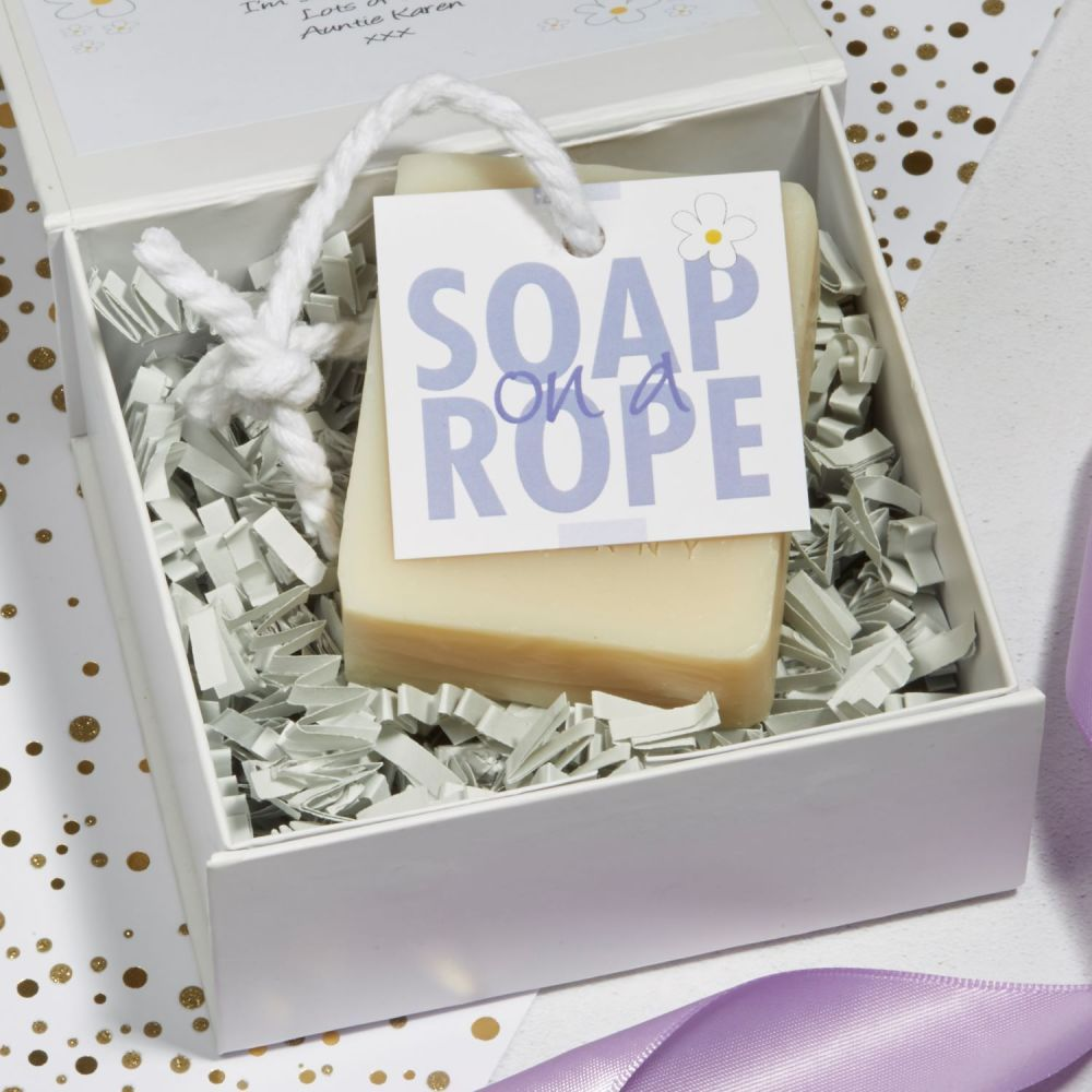 Personalised Lavender Soap on a Rope Gift by Lovely Soap Company