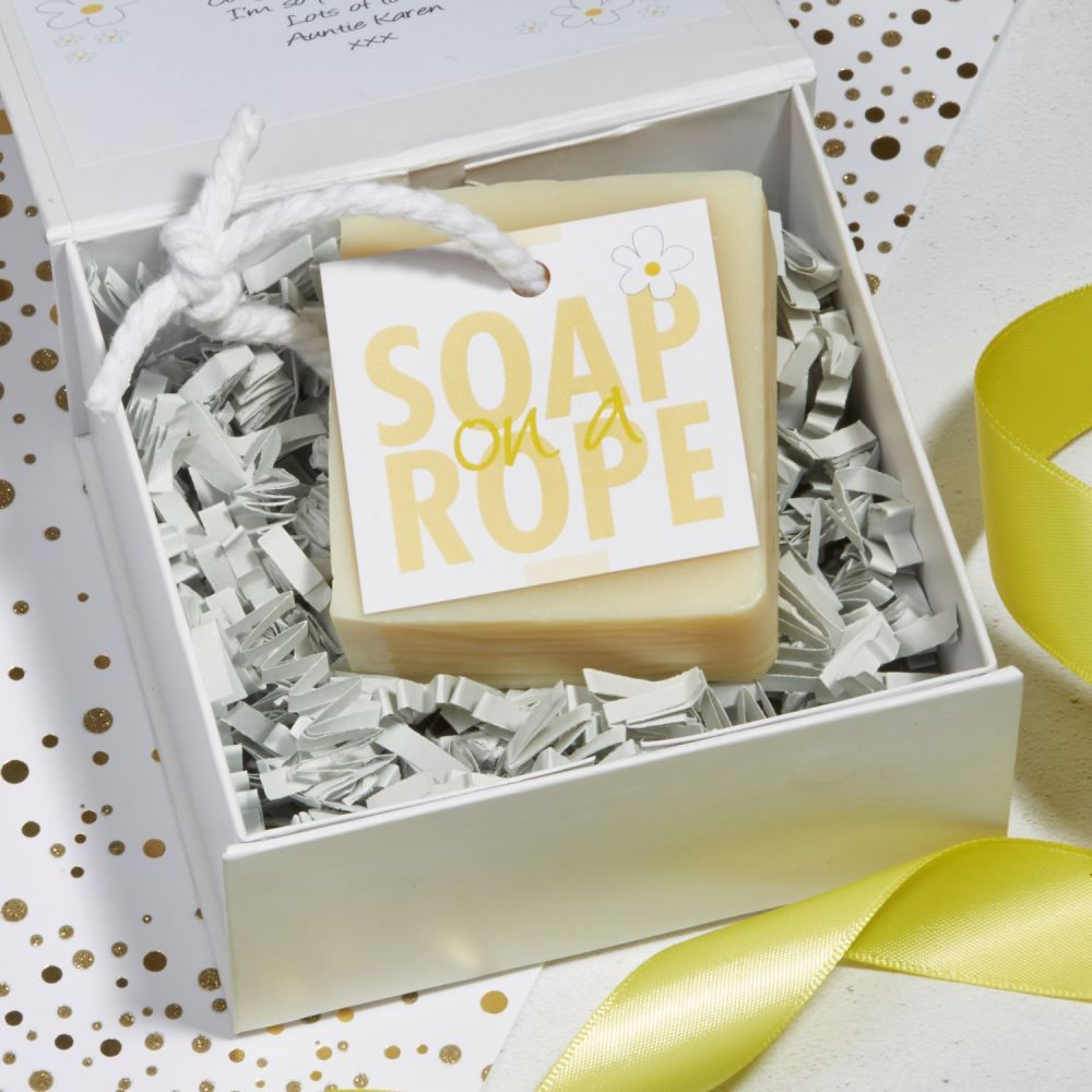 Personalised Grapefruit & Lemongrass Soap on a Rope Gift by Lovely Soap Com