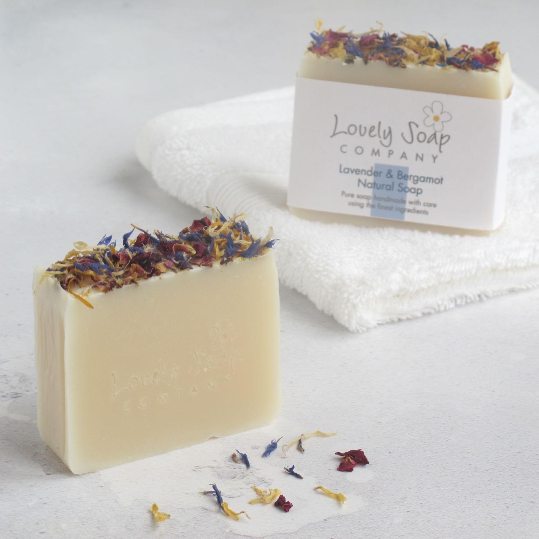 Lavender and Bergamot natural vegan soap handmade by Lovely Soap Co