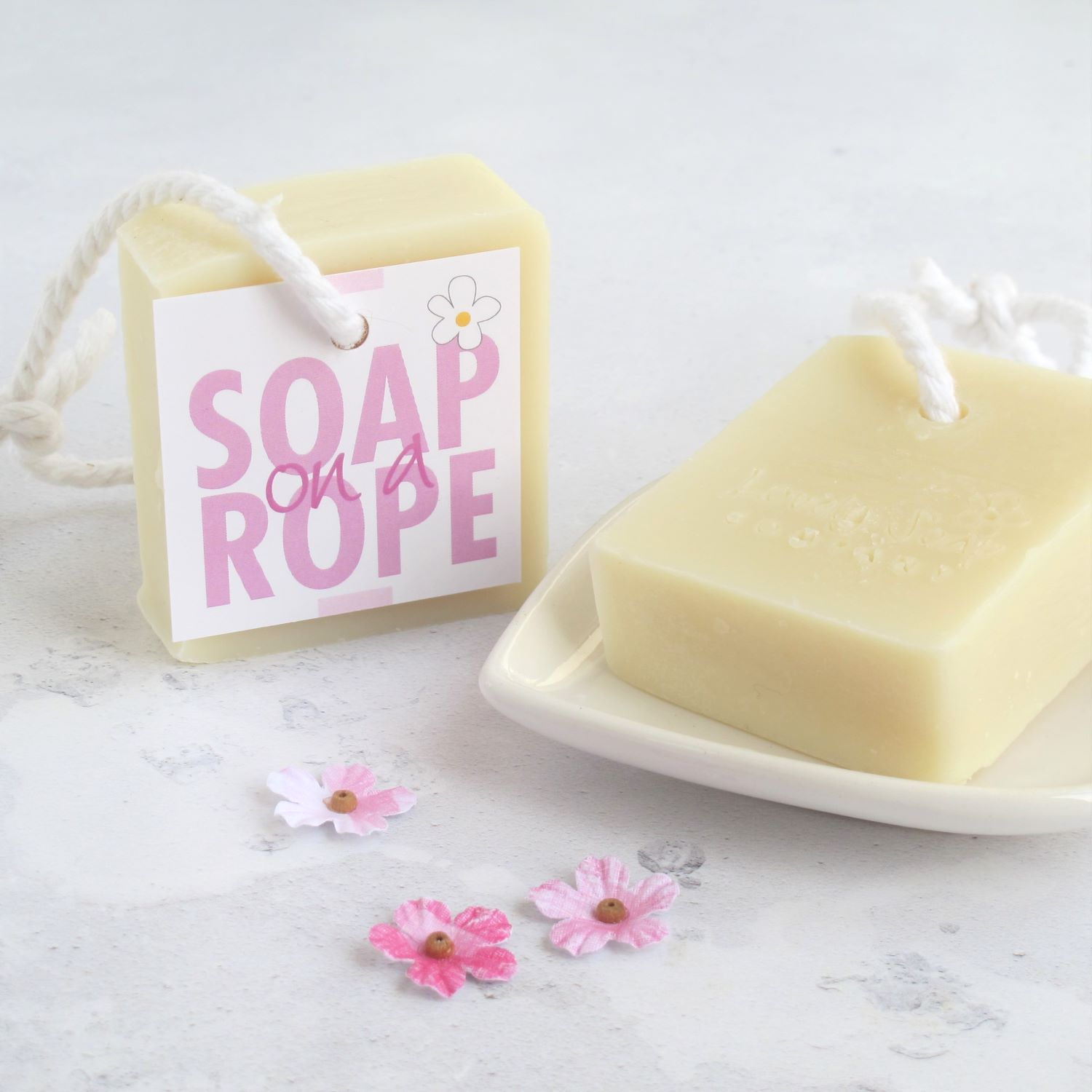 rose geranium soap on a rope handmade by Lovely Soap Co