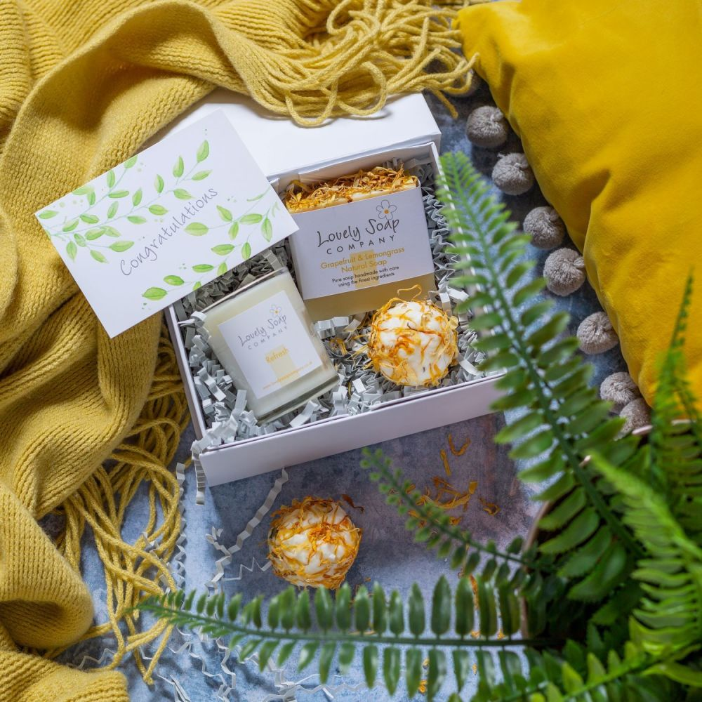 Personalised Congratulations Pamper Box in Refresh scent option by Lovely S
