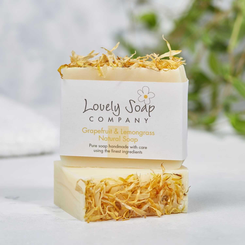 grapefruit lemongrass natural handmade soap bar Lovely Soap Co