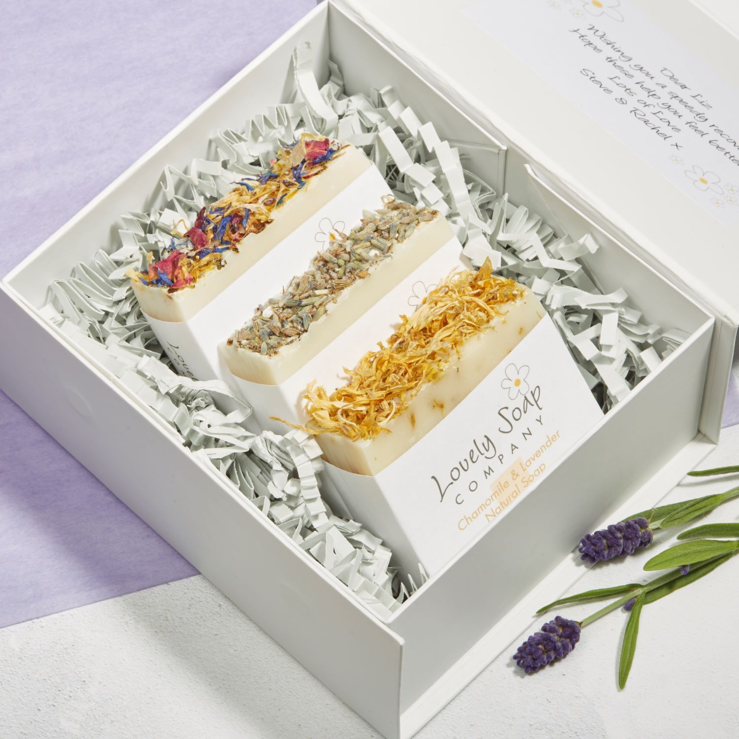 handmade natural soap personalised gift set Lovely Soap Co