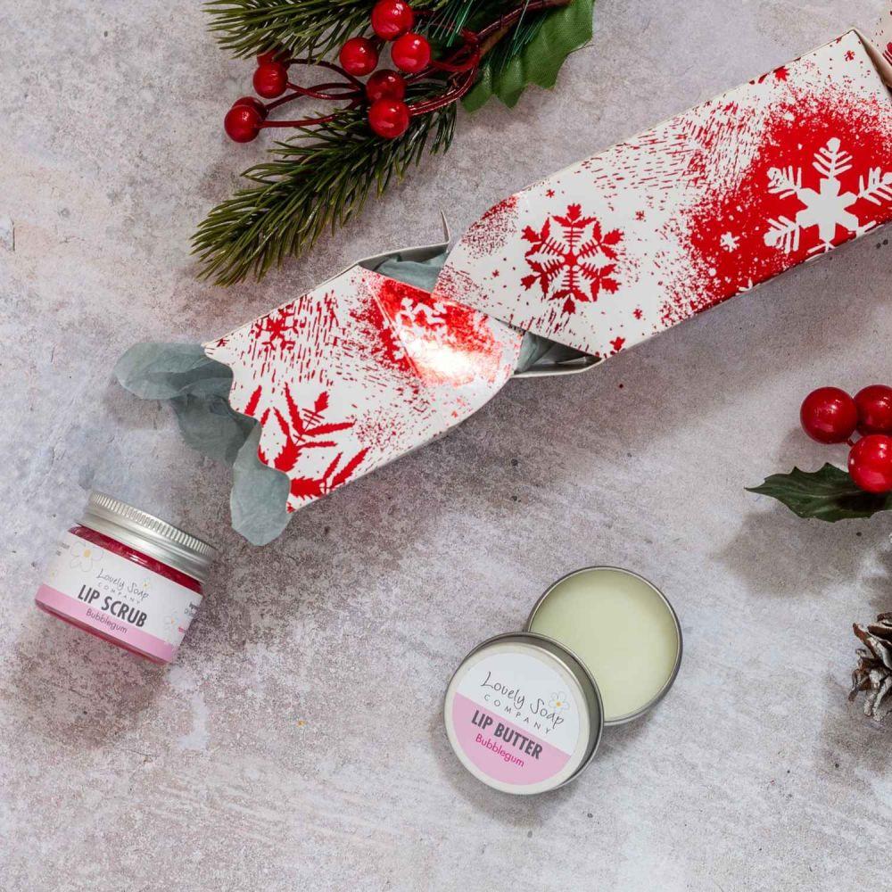 Bubblegum Lip Care Christmas Cracker by Lovely Soap Co