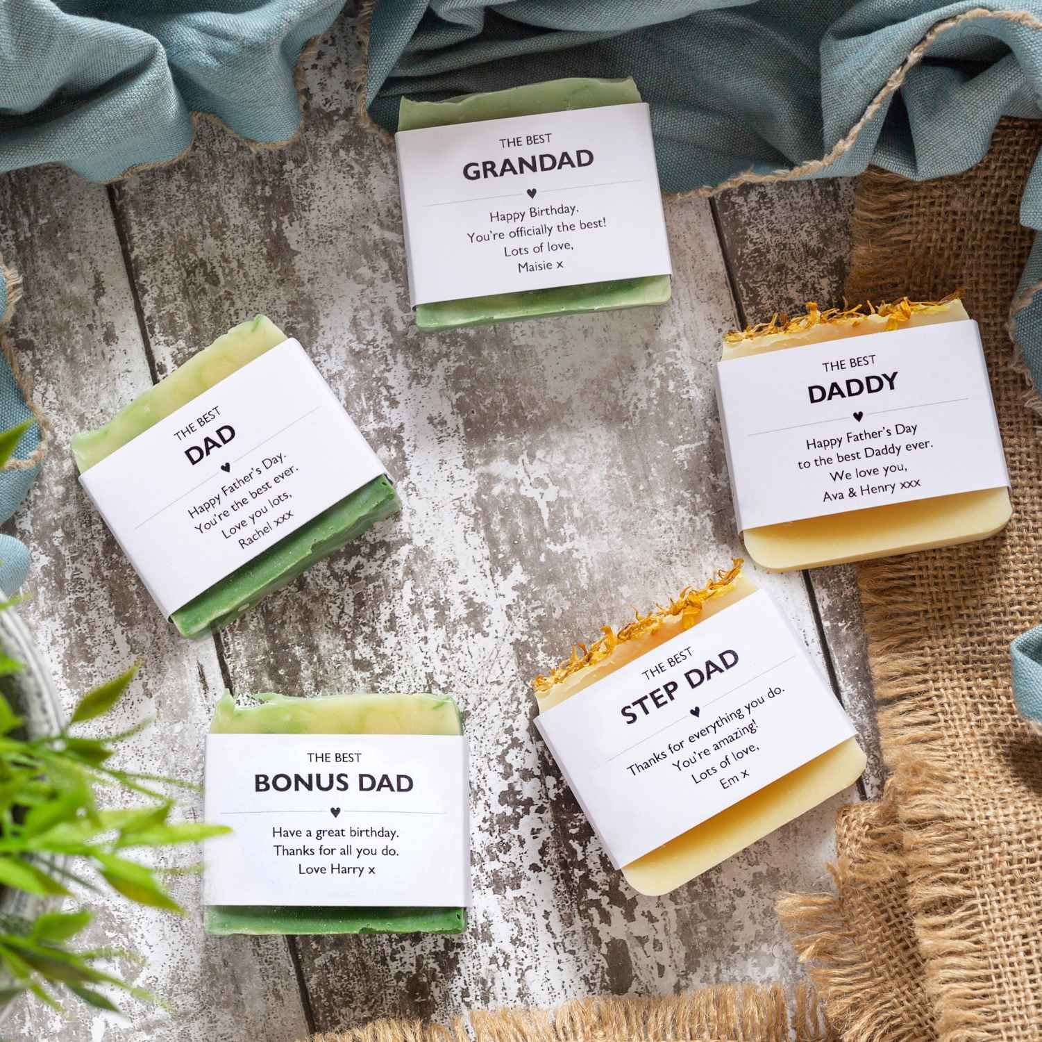 Personalised soaps for men Fathers Day gifts Lovely Soap Co