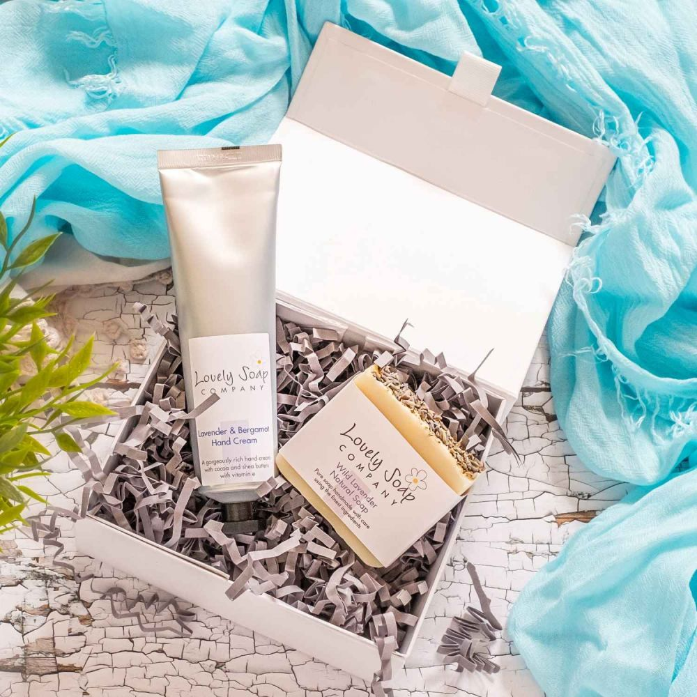 Luxury Soap & Hand Cream Set with Wild Lavender by Lovely Soap Co