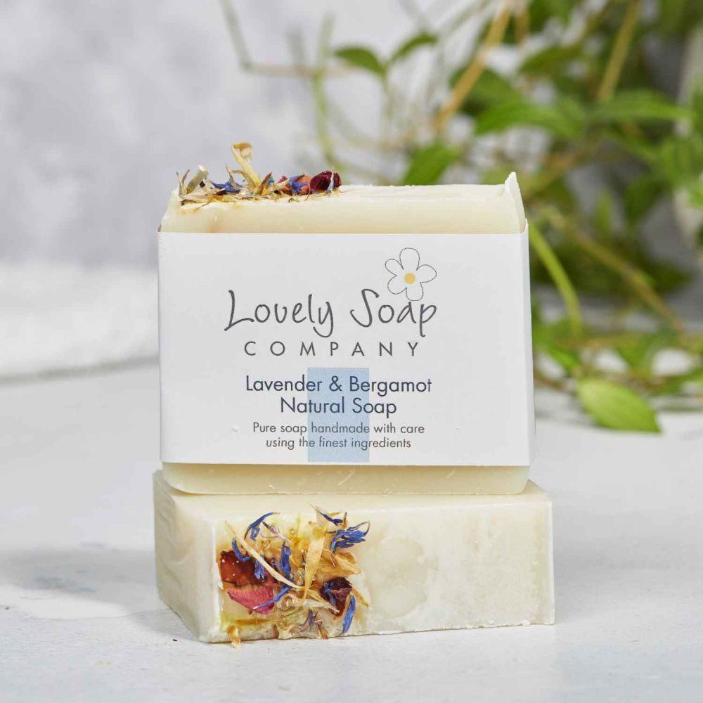 Lavender & Bergamot Natural Soap handmade by Lovely Soap Co
